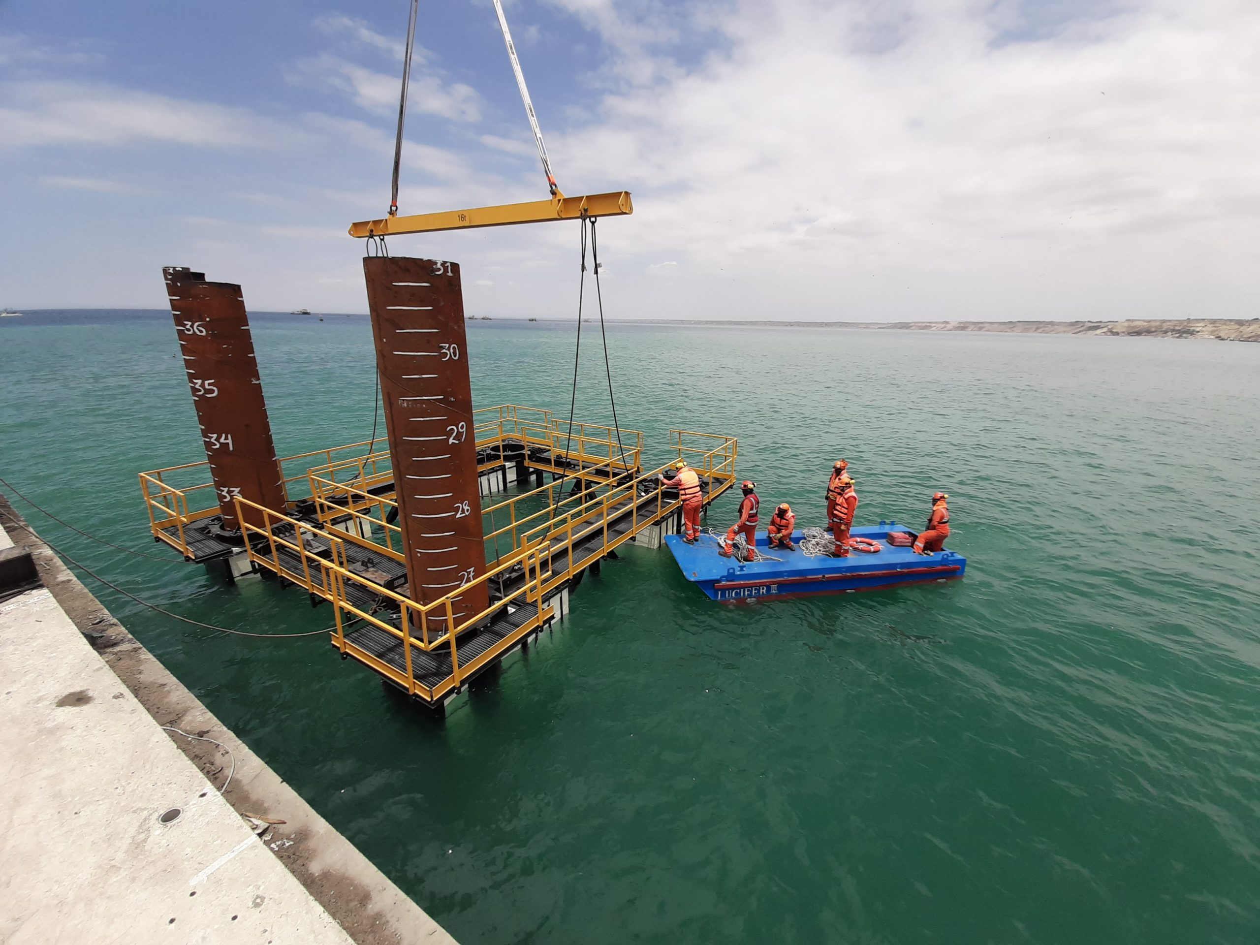 Pile guiding formwork equipment for Paita port by RÚBRICA MARITIME